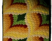 1970s Crocheted Pushing Daisies Geometric Pillow
