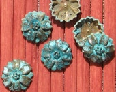 flower embellishment , BLUE patina on brass metal, flower bead caps 4 pcs