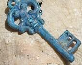 skeleton key ,  CURIO KEY pendant charm,  BLUE patina - 2 pcs