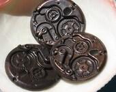 clock gear , WATCH WORKS steampunk composite GEAR charm - antique patina 2 pc