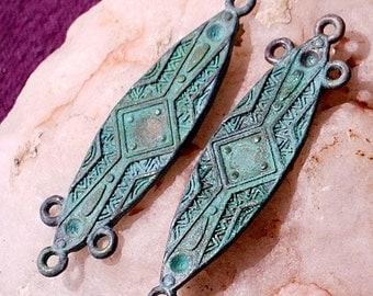 TRIBAL shield earring dangle, verdigris patina  2 pcs connectors