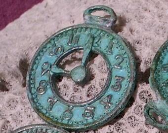 clock charm , pocket WATCH focal pendant charm ,  VERDIGRIS  patina - 2 pc
