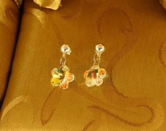 Swarovski AB(Aurora Borealis) Crystal Flower dangle Earrings/Bridesmaid Gift/Maid of Honor Gift/Christmas Earrings