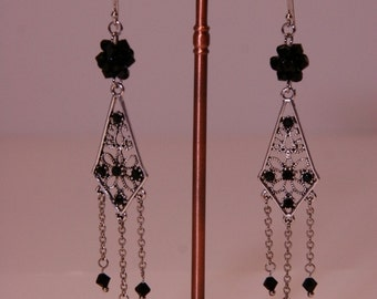 Dream Catcher Silver Chandelier Earrings/Maid of Honor Gift/Holiday Earrings/Christmas Gift