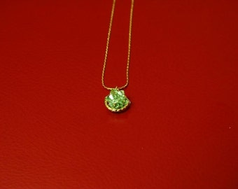 Peridot Rock Crystal Ball Vintage Pendant With 14k Gold Plated Chain/Wedding Gift/Bridesmaid Jewelry