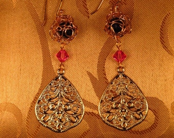 Gold Filigree With Gold Wire Ball Earrings/Maid of Honor Gift/Bridal Gift/Holiday Jewelry/Christmas Earrings