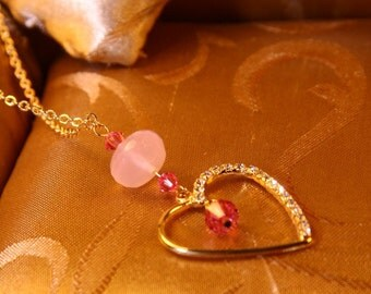 Gold Plated Rhinestone Heart With Rose Swarovski Crystal Necklace/Valentines day Jewelry/Wedding Gift
