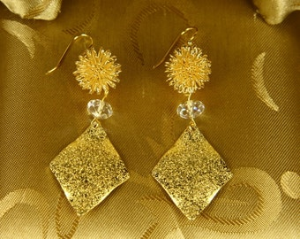 Glittering Gold Leaf With Golden Flowers  And Clear Donut Swarovski Crystal Earrings/Holiday Earrings/Christmas Earrings