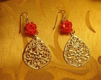 Gold Filigree With Padparadscha Swarovski Crystal Flower Ball Earrings/Maid of Honor/Holiday jewelry Gift/Bridesmaid Gift