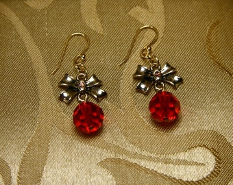 Vintage Bow With Ruby Red Crystal Drop Earrings/Bridesmaid gifts/wedding gift/Holiday Jewelry