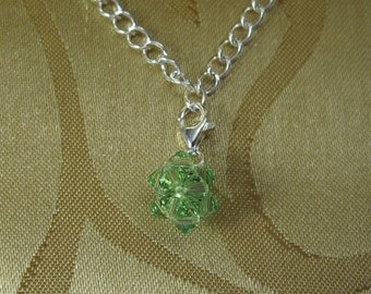 Swarovski Peridot Crystal Charm With Sterling Silver Lobster Claw Clasp