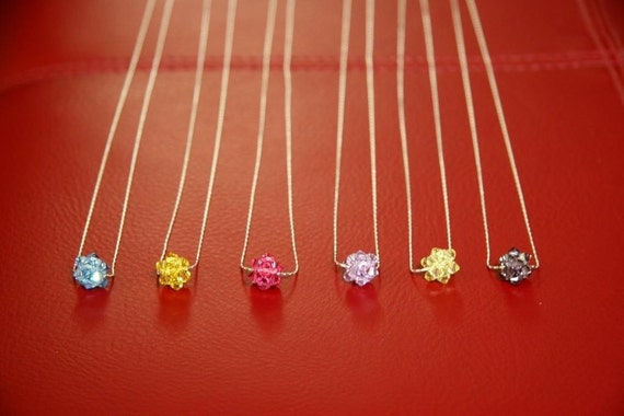 Swarovski Rock Crystal Ball Pendants with Sterling Silver Chains/Wedding Gift/Bridesmaid Gift/Maid of Honor Gift