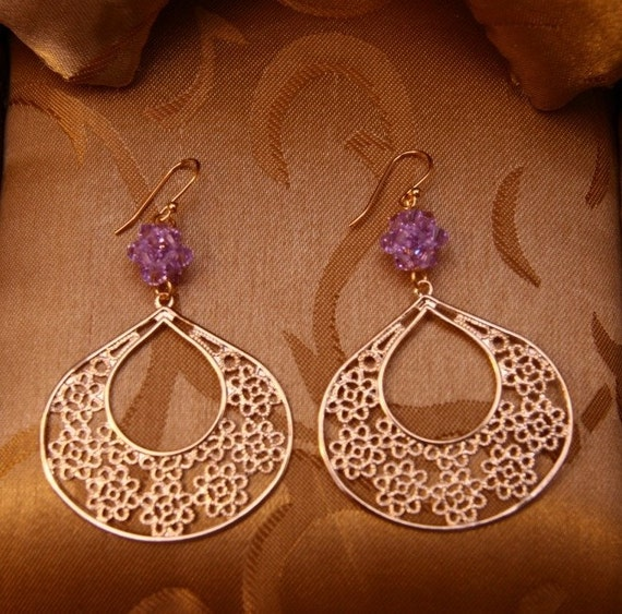 Gold Flowers Filigree With Violet Flower Ball Earrings/Wedding Gift/Bridesmaid Jewelry
