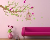 Removable Wall Stickers - Spring Branch and Cage (BE 2-5)