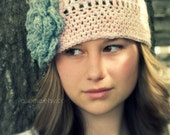 Blush and Gray Flower Cloche Hat