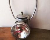 Vintage Industrial Mining Railroad Lantern w Red Handle