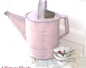 Shabby Chic Pink Rustic  Prim Galvanized Antique Watering Can Vase