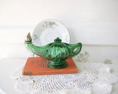 Vintage Green Glass Aladdin Lamp Avon Collectible