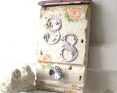 Shabby CHic Decor. Antique Architect ALtered Art. Key Holder Jewelry Displayer Coat Hook. Address Display. Apt No 38