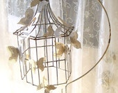 Antique Wrought Iron Bird cage and Stand. Paper Butterflies. Shabby Rusty Ornamental  Romantic Cottage Garden Patio Wedding Accessory SALE