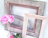 RESERVED FOR TIFFANY DIstressed Picture Frames Collection. Antique Gold Gilded frame. SHabby Chic Pink. from 3VintageHearts
