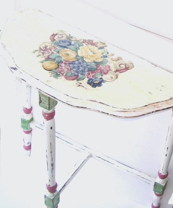 White Shabby Chic Romantic Cottage Antique parlor side table Furniture shabby roses by 3VintageHearts