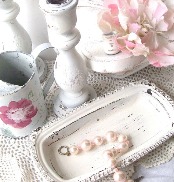 White Shabby CHic Romantic Cottage COllection Candlesticks and Accessories