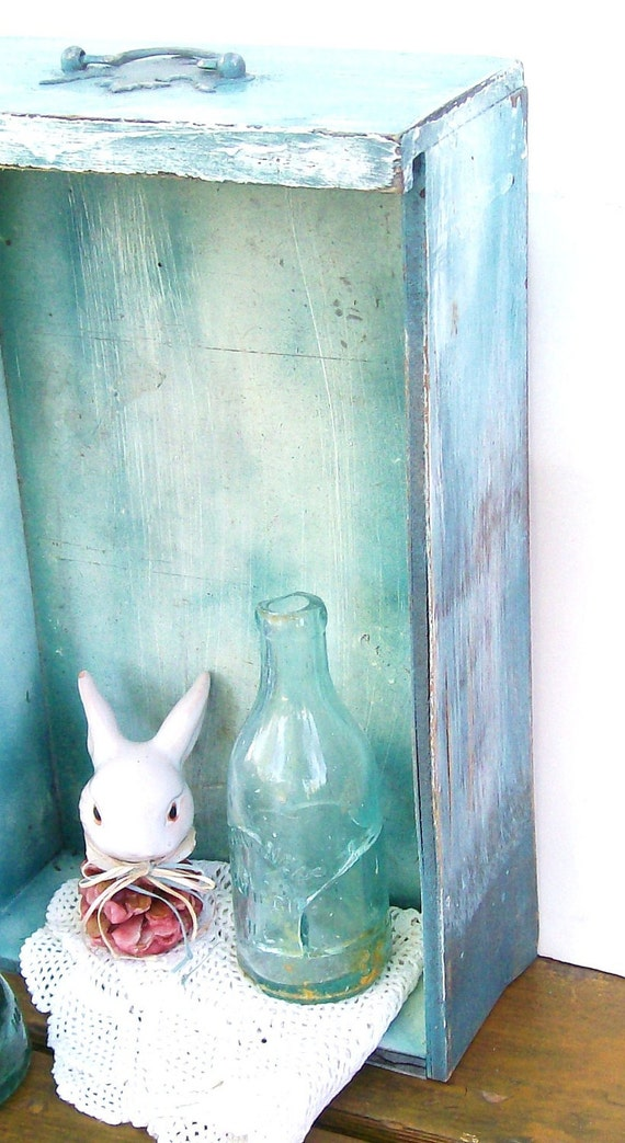 Rustic Wood Tote Shabby Distressed Tall Wall Shelf Aqua Teal