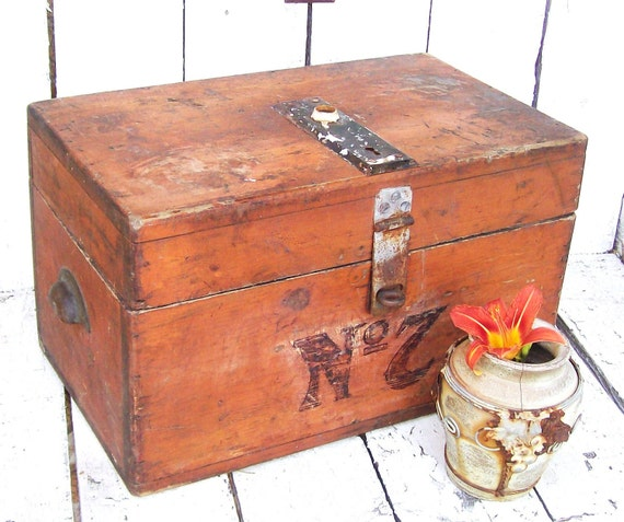 Rustic Primitive Wood Chest.trunk. Antique Hardware handcrafted storage box OLD No 7