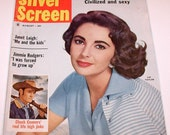 VINTAGE 1959 Silver Screen Magazine with Elizabeth Taylor on the Cover