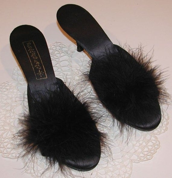 Vintage Sexy Black Marabou Feather Slippers By Haoli On Etsy