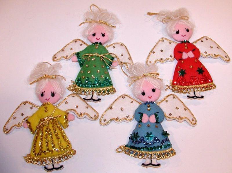 Vintage Lot of 4 Handmade Felt ANGEL Christmas Ornaments