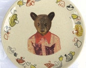 Joey the Bear, 1st grade picture - Altered Retro Mushroom Plate