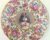 Lucy the Zombie Girl Portrait  - Altered Chintz Plate, large