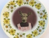 SALE - Fawn, 6th grade picture - Altered Vintage Daisy Plate