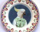Rachelle the Cockatoo - Altered Vintage Plate