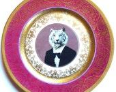 SALE - Timeless Tiger - Altered Vintage Plate