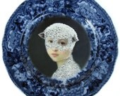 Mary Was a Little Lamb - Altered Antique Plate