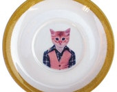 Last One - SALE - Tommy C., School Portrait - Altered Vintage Daisy Plate