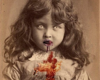 Lucy the Zombie Girl - Altered Image - 5 X 7 Art Print