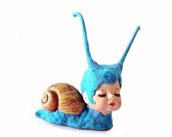 Blue Willow the Sleepy Snail -  8 X 10 Fine Art Print