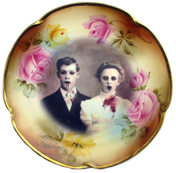 Zombie Love, Wedding Portrait - Altered Antique Charger Plate