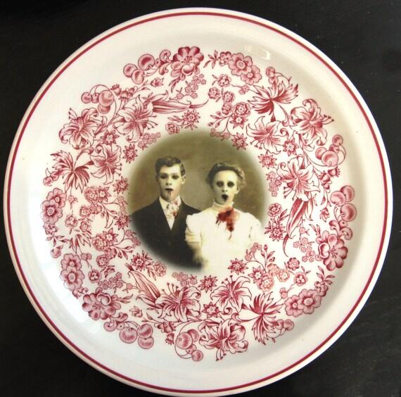 SALE - Zombie Love, Wedding Portrait - Altered Vintage Plate - Large