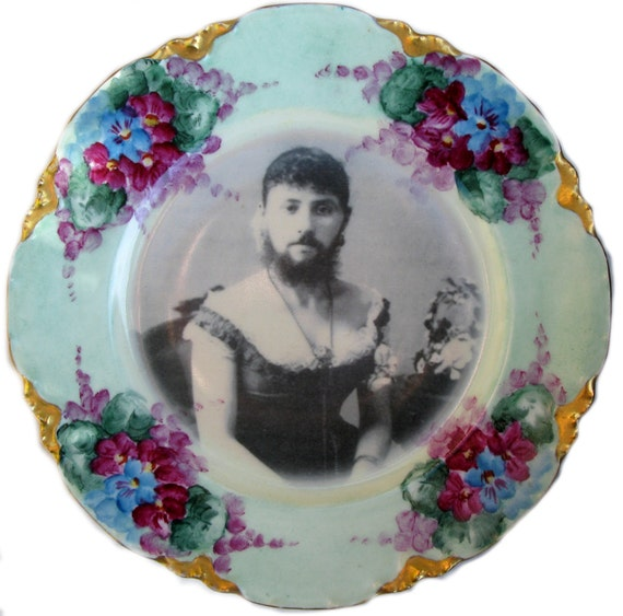 The Bearded Lady - Circus Freak Series  - Altered Antique Plate