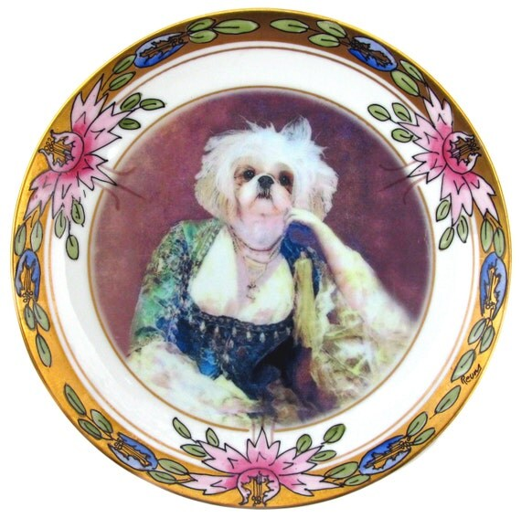 Portrait of a Shih Tzu  - Altered Antique Plate