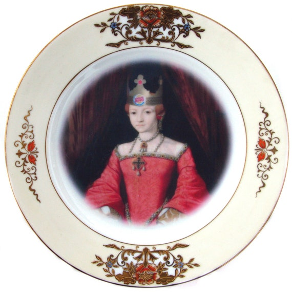 Burger Queen - Altered Antique Plate