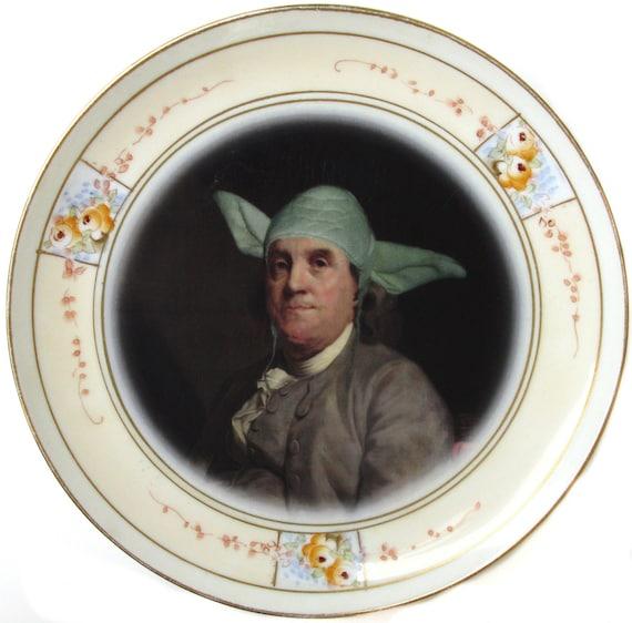 Yodamin Franklin Portrait Plate - Altered Antique Plate