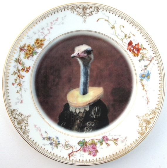 Marquise de Struthio - Altered Vintage Limoges Plate