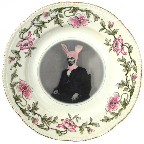 SALE - Pink Bunny Suit - Altered Vintage Plate