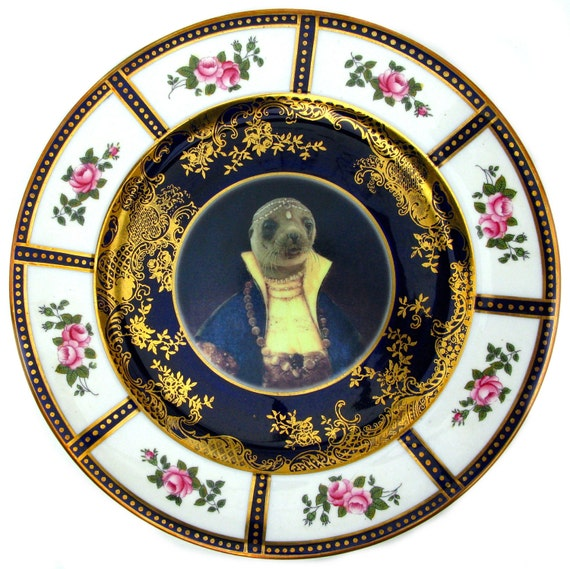 Princess Pinniped of the Caspian Sea - Altered Vintage Plate